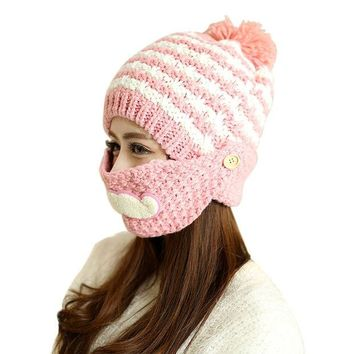 VONESC6 Cute Stylish Beard Winter Hat For Women Fashion Beanies with Mouth Mask Wool Hat Knit Cap Face Warm Ear Cap