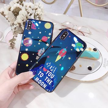 I love you to the moon Space Phone Case for iPhone 7, 7 Plus, 8, 8 Plus, X