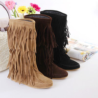 fashion round head tassels flat boots