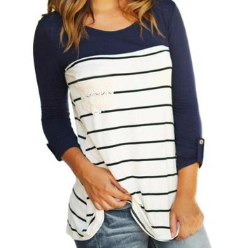 Women's Navy Blue/White Striped Raglan Sleeve T-Shirt with Lace Pocket Detail