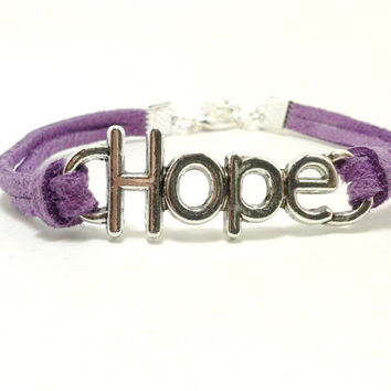 Purple Hope Bracelet, Hope Jewelry, Friendship Bracelet, Charm Bracelet, Charm Jewelry, Jewelry with Word, Inspirational Bracelet, Teen Gift