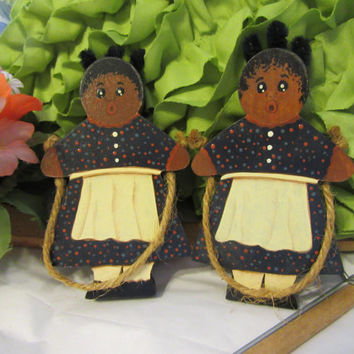 Vintage Black Americana Hand Made and Hand Painted Girl Jumping Rope Shelf Sitter