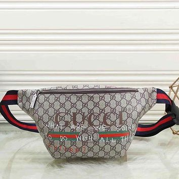 GUCCI Hot Sale Leather Waist Bag Single Shoulder Bag Crossbody Satchel Grey I/A