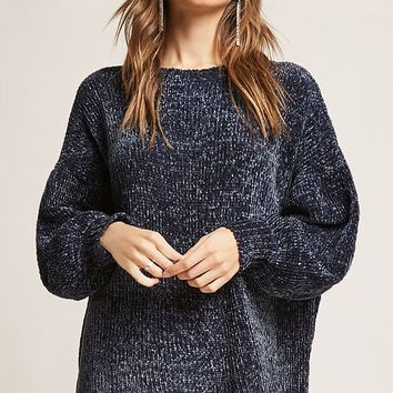 Lantern-Sleeve Chenille Sweater Dress