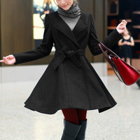 Round neckline warm woolen Coat Dress - black