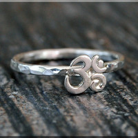 Om Stacking Ring, Sterling Silver OHM Ring, Stacking Jewelry, Lucky Charm Jewelry, Sterling Silver Ring, Om Ring