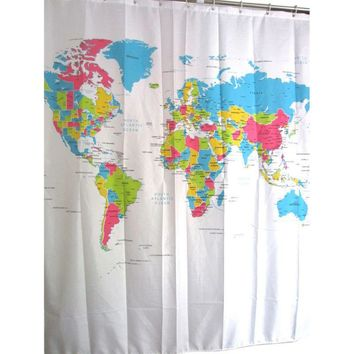 World Map Waterproof Anti-mildew Polyester Bath Curtain Shower Curtains Home & Bathroom Decorative with Hooks