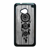 Hipster Vintage Black Dreamcatcher On Gray Wood HTC One M7 Case