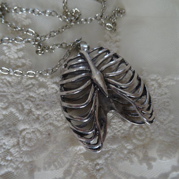 1- Silver Ribcage Necklace Anatomic Human Body Part 2 Sided See Through Open Hallow Rib Cage Necklace Hand Made Finished Jewelry