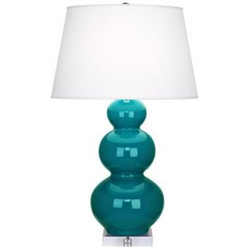 Triple Gourd Table Lamp with Lucite Base | Peacock Blue