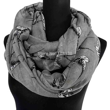 Ladies Swallow Bird Print Infinity Scarf Snood Women's Loop Party Event Accessories Gift for Her, Free Shipping