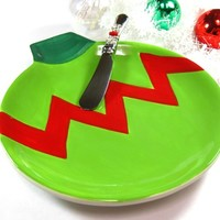 Christmas Ornament Hors d'oeuvres Plate and Beaded Cheese Spreader