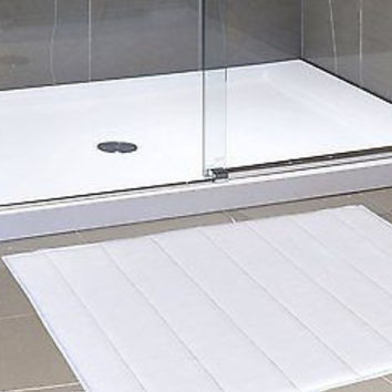 "Royal Bath Memory Foam Solid Large (21""x34"") Bath Mat w/ Latex Backing (White)"