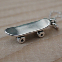 Skateboard Necklace - 925 Sterling Silver - Skateboard Charm *NEW* Skater Board