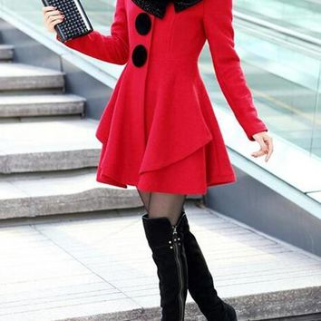Red Patchwork Faux Fur Turndown Collar Single Breasted Peplum Sweet Wool Coat