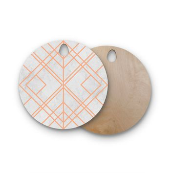 "Tobe Fonseca ""Art Deco Lines Pattern"" Pink Gray Geometric Modern Illustration Mixed Media Round Wooden Cutting Board"