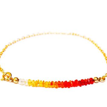Mexican Fire Opal Bar Chain Bracelet in 14k Gold
