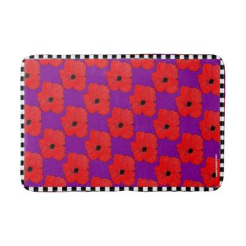 Purple and Really Red Poppy Bath Mat