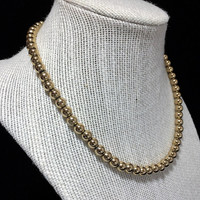 Monet Gold Tone Bead Necklace Adjustable Length Signed Mid Century Beaded Jewelry 518m