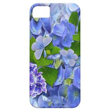 Blue Hydrangeas and Butterflies iPhone 5 Covers