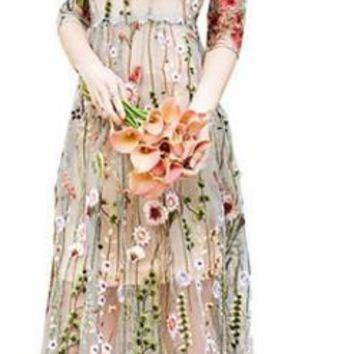 A.LVOEXIU Party Embroidery Dresses Ruway Floral Bohemian Flare Flower Embroidered Vintage Boho Mesh Embroidery Dresses For Women