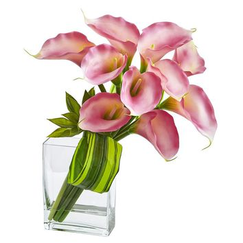 Silk Flowers -20 Inch Pink Calla Lily And Succulent Bouquet Arrangement