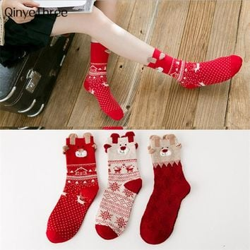 New women's winter warm soft socks girls Xmas gift sock thermal christmas tree santa claus elk snowman fashion cute sokken