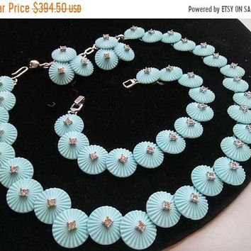 ON SALE Vintage Crown TRIFARI Aqua & Rhinestone Necklace Bracelet Earring Set High End Designer Signed Jewelry Mad Men Mod Old Hollywood
