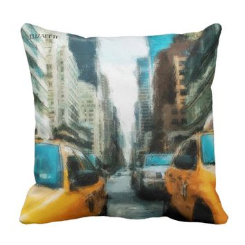 Yellow Taxi Cabs After Rain In New York City Throw Pillow