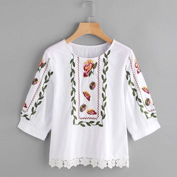 Lace Floral Flower Printed Blouse Casual Short Tops Loose Blouses