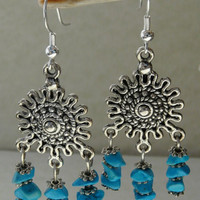 "Tibetan Silver and Howlite Dangle Earrings ""Catch a Dream"""