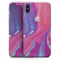 Marbleized Pink and Blue v391 - iPhone X Skin-Kit