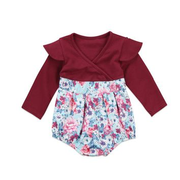 Pudcoco Newborn Infant Baby Girls Floral Romper Long Sleeve V-Neck Jumpsuit Playsuit Cotton Autumn Toddler One-Piece Clothes
