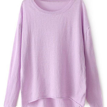 ROMWE Asymmetric Sheer Color Long-sleeves Purple Jumper