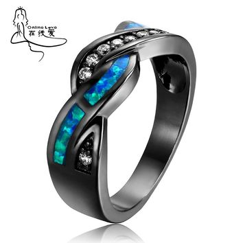 Vintage Black Gun Plated Wave Blue Opal Ring