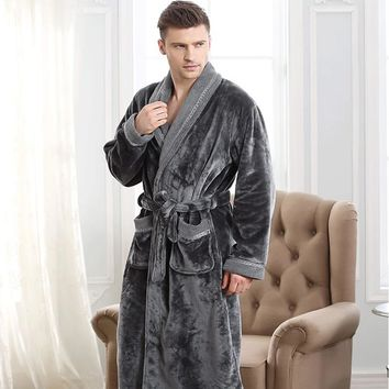 Autumn winter thickening flannel bathrobe man coral fleece robe lengthen 5xl plus size long-sleeve sleepwear