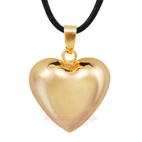 Gold HEART HARMONY BOLA CHIME BOLA PENDANT BOLA BALL HARMONY MEXICO CHIME BALL BABY CUSTOM JEWELRY ANGEL CALLER LONG NECKLACE