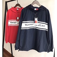""" Tommy Hilfiger "" Fashion Hooded Zipper Cardigan Sweatshirt Jacket Coat Windbreaker Sportswear"