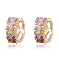 18k Gold Plated Multi Color Stud Earrings