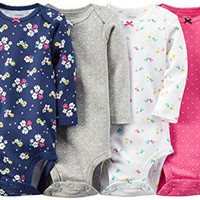 Carter's Baby Girls' 4 Pack Print Bodysuits (Baby) - Pink - 3M