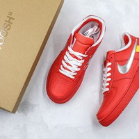 Off White X Nike Air Force 1 Af1 Low Red/silver - Best Online Sale