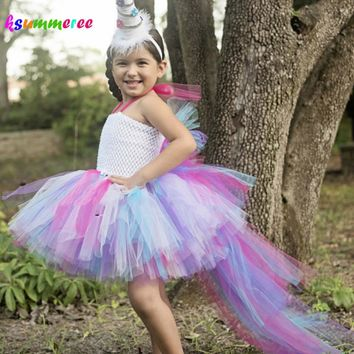 Princess Little Horse Unicorn Bustle Tutu Dress Girls Baby Rainbow Birthday Party Photo Prop Costume Kids Purim Halloween Dress