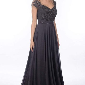 Daymor Couture - Beaded Lace Chiffon Evening Gown 908