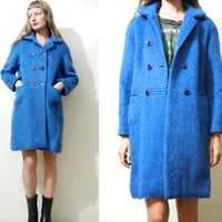 50s 60s Vintage BLUE MOHAIR Jacket Coat Wool Shaggy Fluffy Mod Long Mid Length Double Breasted 1950s 1960s vtg xs s m