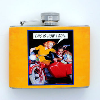 Funny Decorated Flask This Is How I Roll 50's Retro by kitschville
