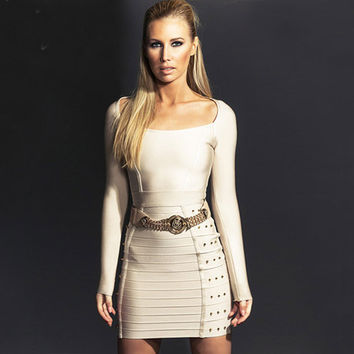 Women's Fashion Winter Sexy Slim Long Sleeve Bandages Prom Dress One Piece Dress [4919740804]