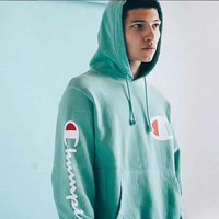One-nice™ Champion Mint green long sleeve sweater hoodies H-A-XYCL