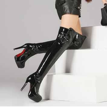 Plus size 34-48 women boots patent leather  over the knee boots for women black red sexy high heels long boots Pole dancing boots