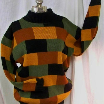 Vintage Mens Sweater L-XL Cosby Grandpa's Clothes Multi Colors Look Incredible