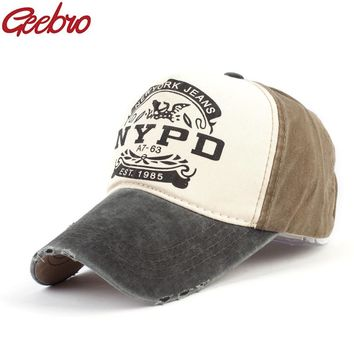 Trendy Winter Jacket Geebro NYPD Letter Patchwork Baseball Cap Summer Casual Cotton Snapback Baseball Caps For Men and Women Full Closed Cap Sun Hat AT_92_12